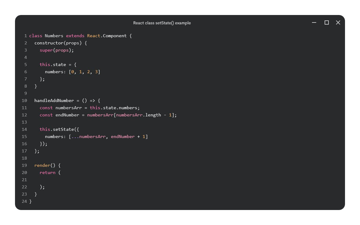 React class using this.state with update function