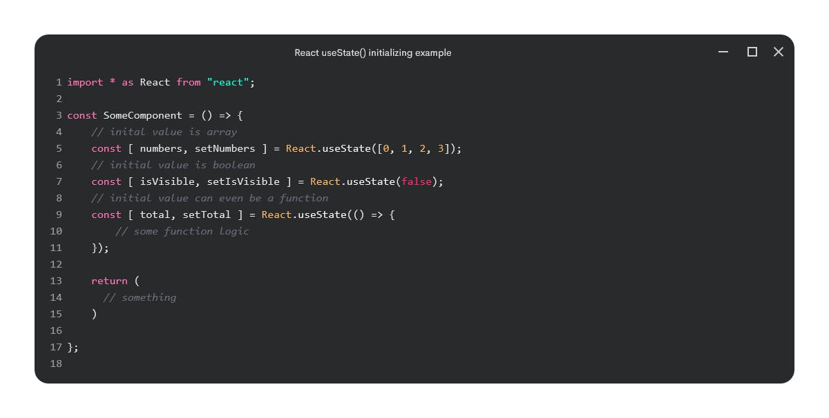 useState() initializing examples