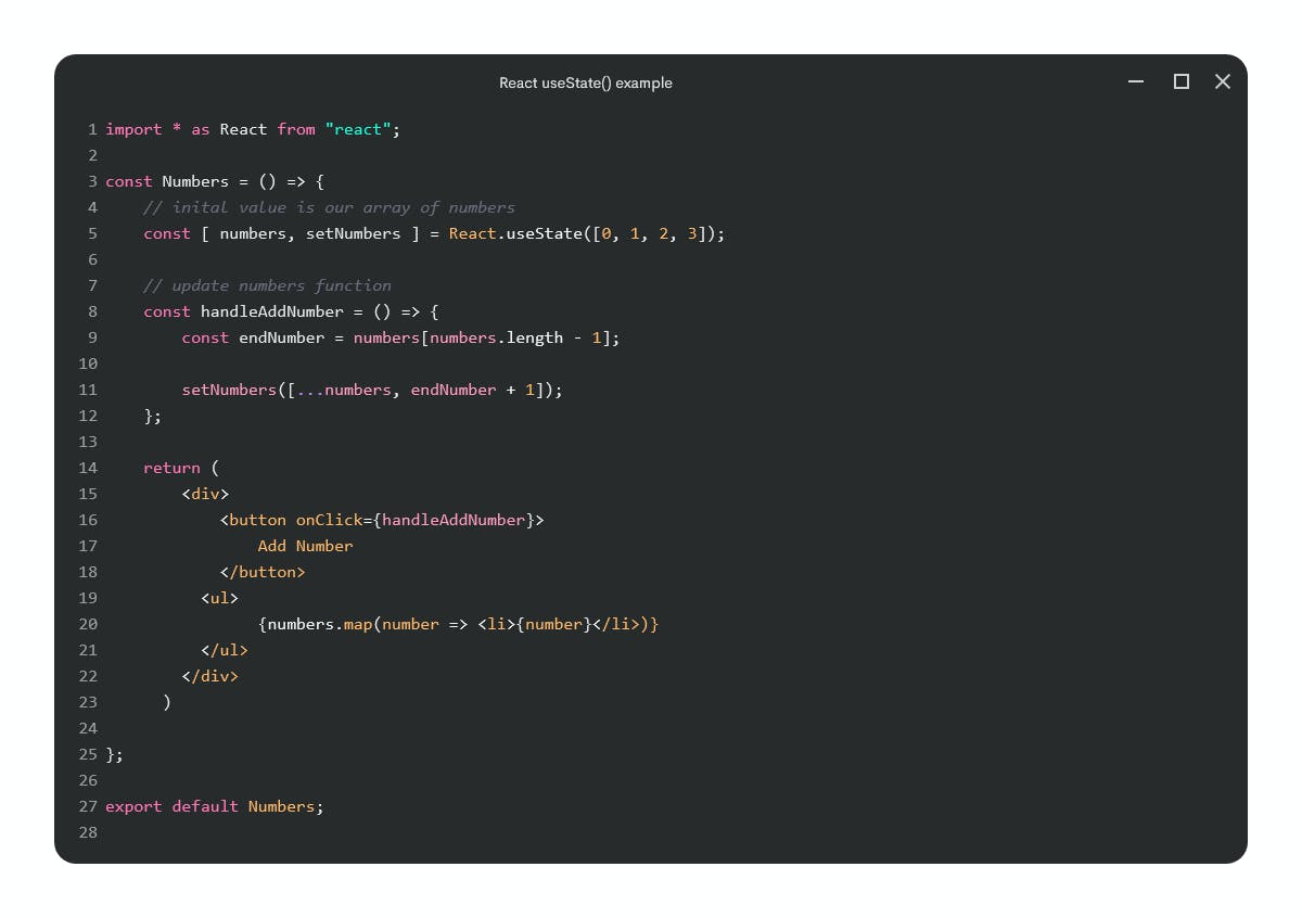 Complete useState() example