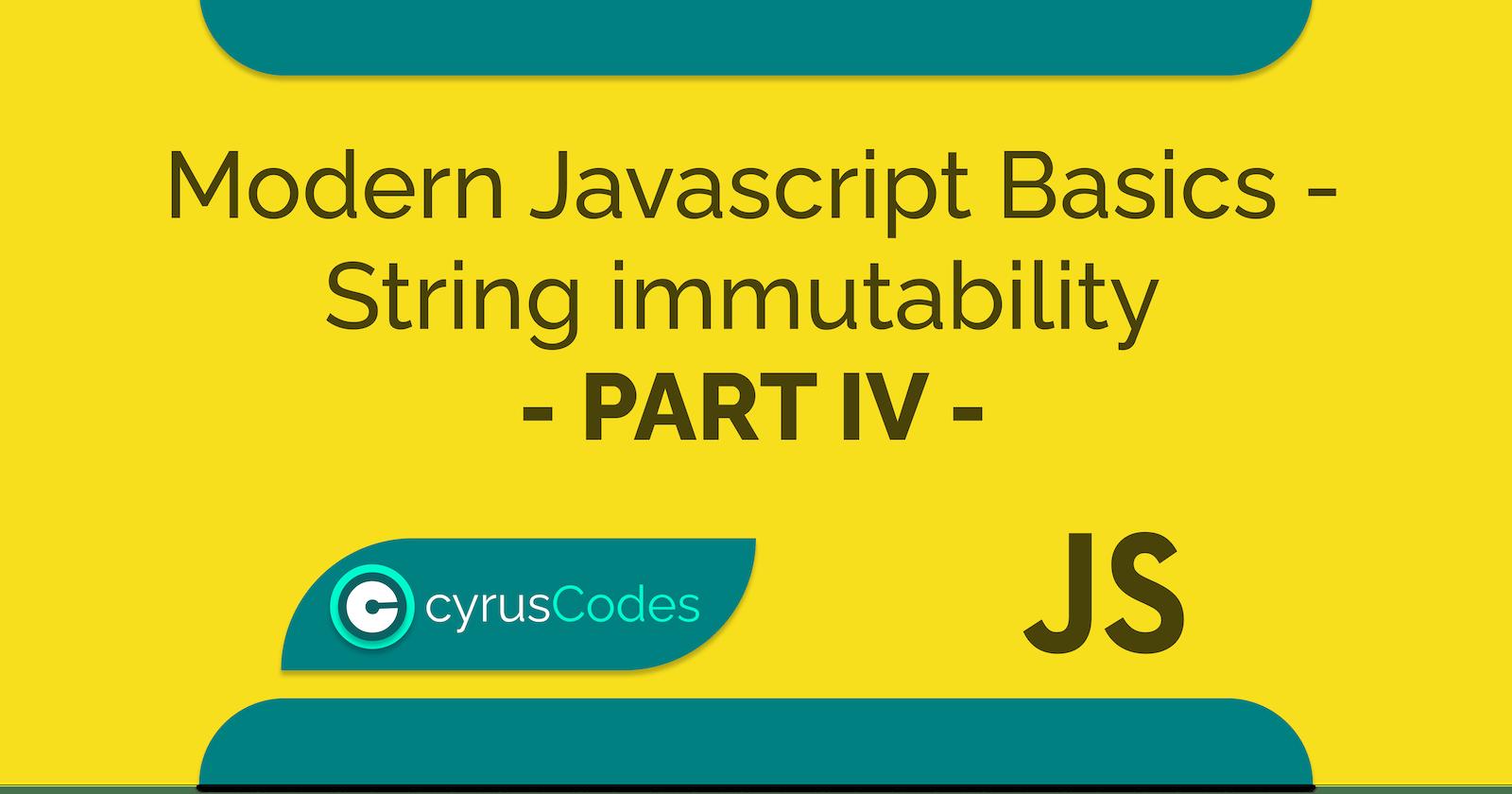 Modern Javascript Basics - Part IV