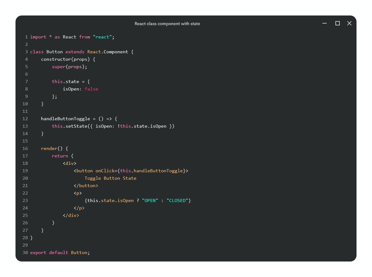 React class component with state