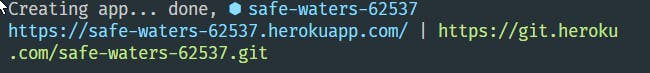 The result of **heroku create** command