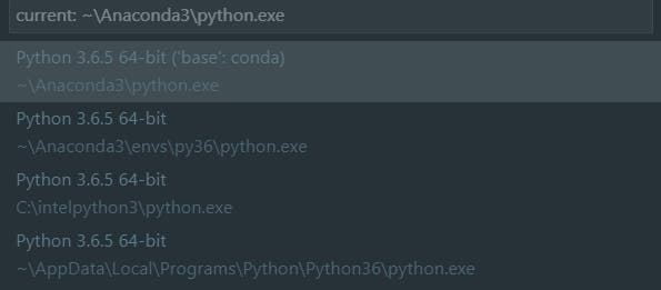 you can now see your python interpreters (in my case it's the **second one **~\Anaconda3\envs\py36\python.exe) where py36 is my environment name.