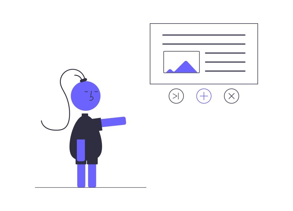 illustration character pointing to article