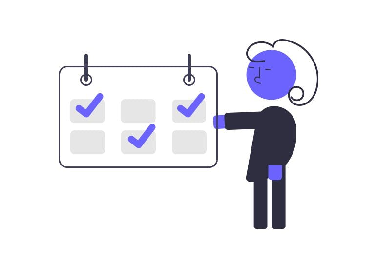 illustration character pointing to schedule