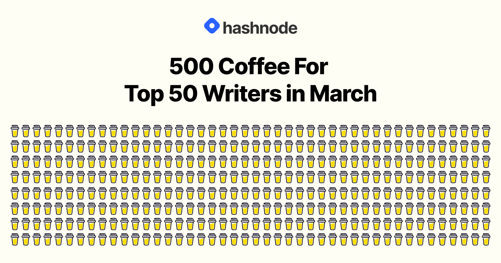 Buying top 50 Hashnode writers coffee in March!