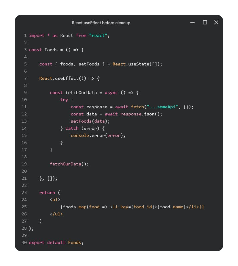 React useEffect before cleanup