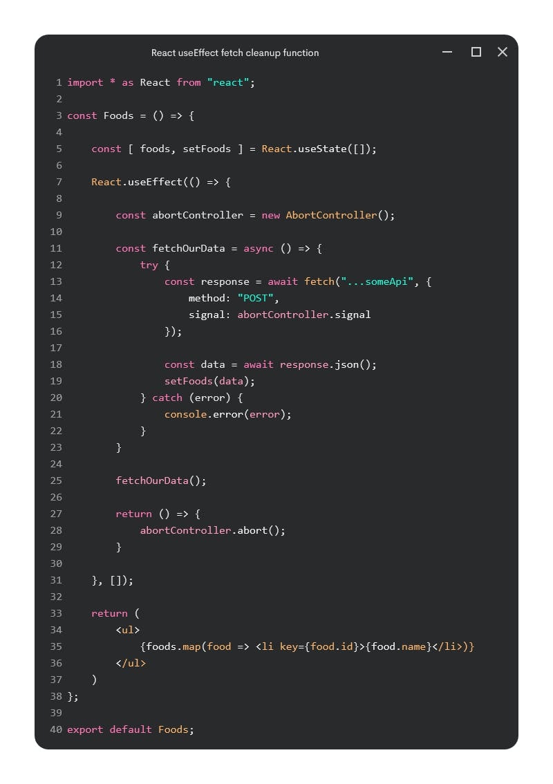 React useEffect fetch cleanup function