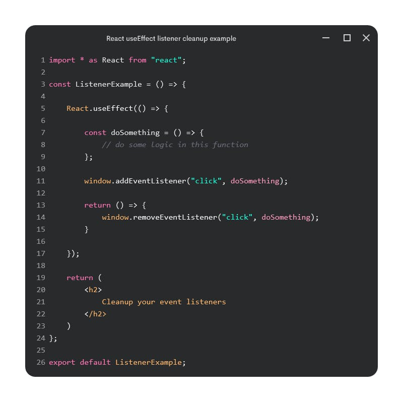 React useEffect listener cleanup example