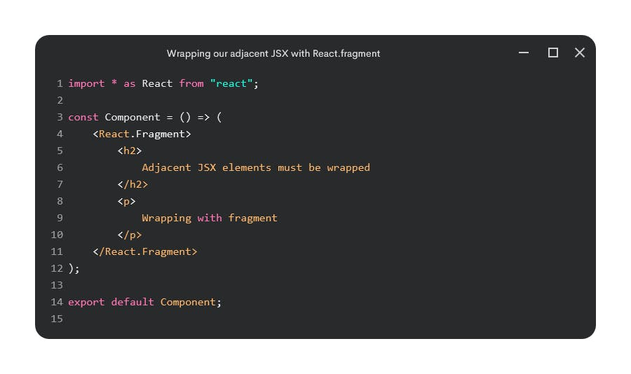 Wrapping adjacent JSX with React.Fragment
