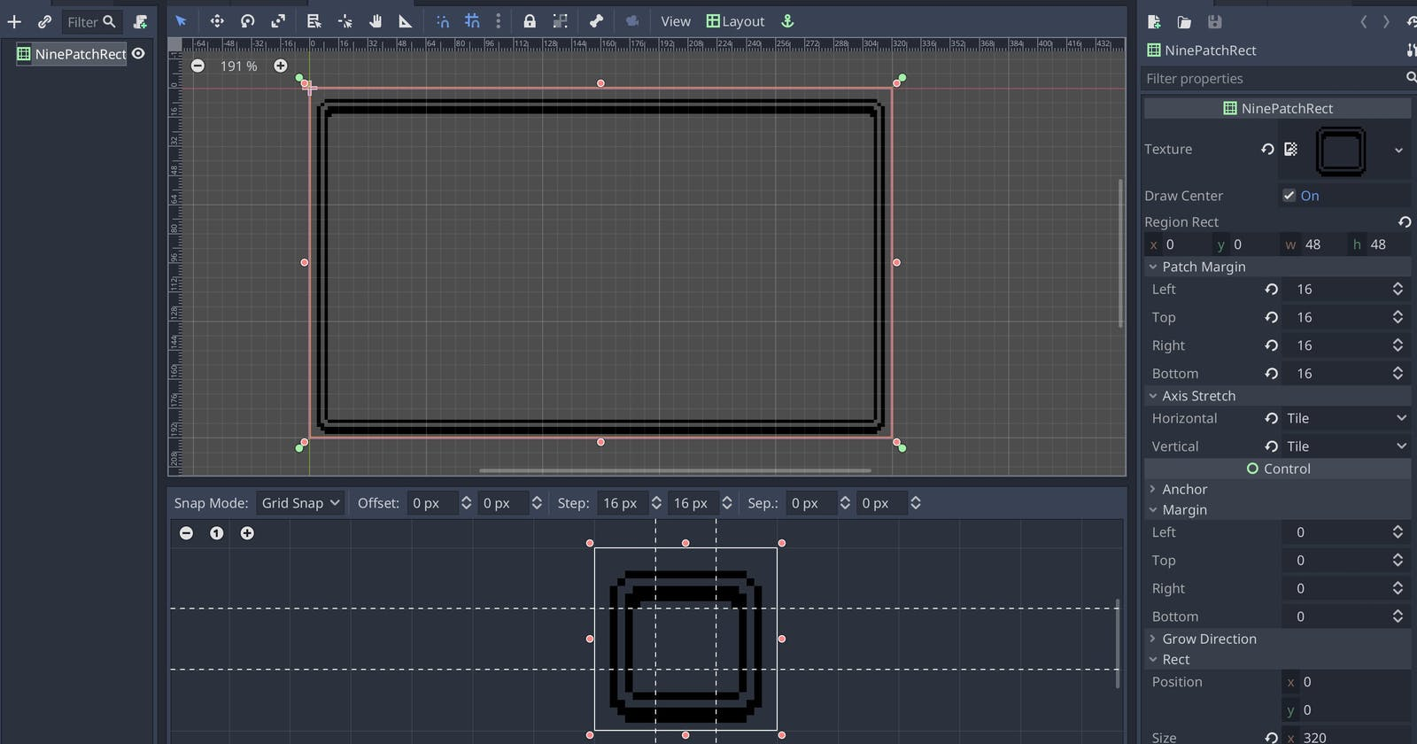 How to use tiles for your dialog box borders in Godot: The NinePatchRect component
