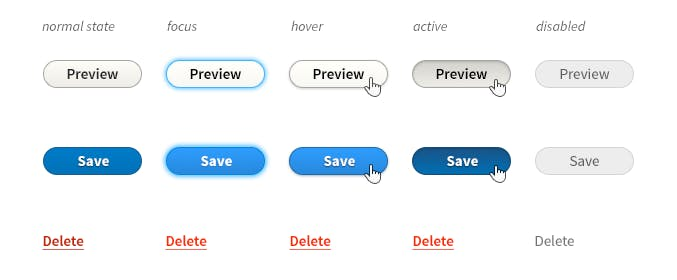 A style guide with some buttons displaying their different interactive states