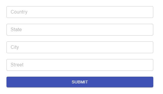 Address form with four input fields, described only by placeholders. There is a submit button at the end.