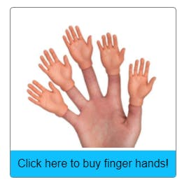 An image of a product called finger hands with a clickable div for buying it