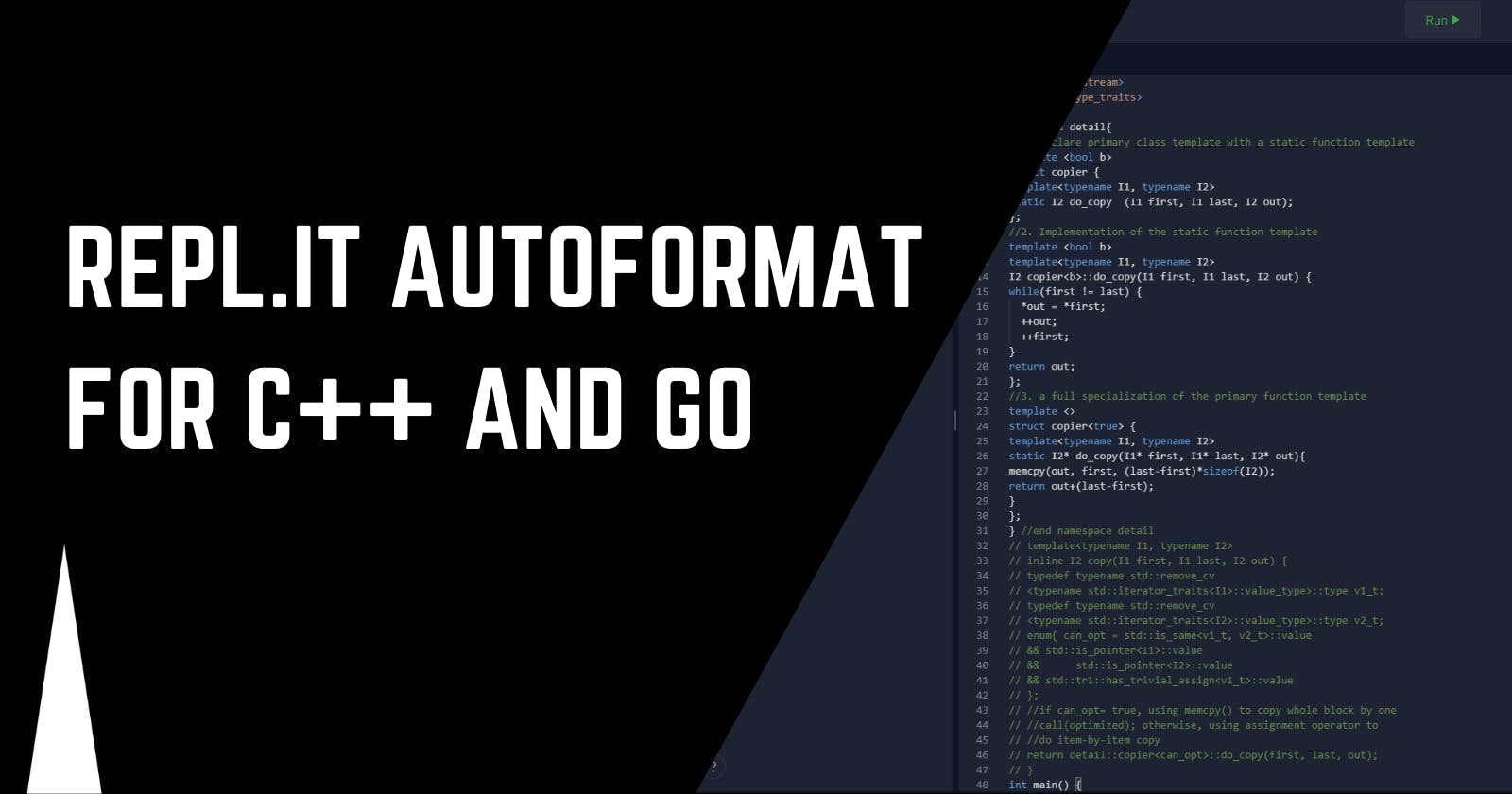 Repl.it code auto-format for C++ and Go
