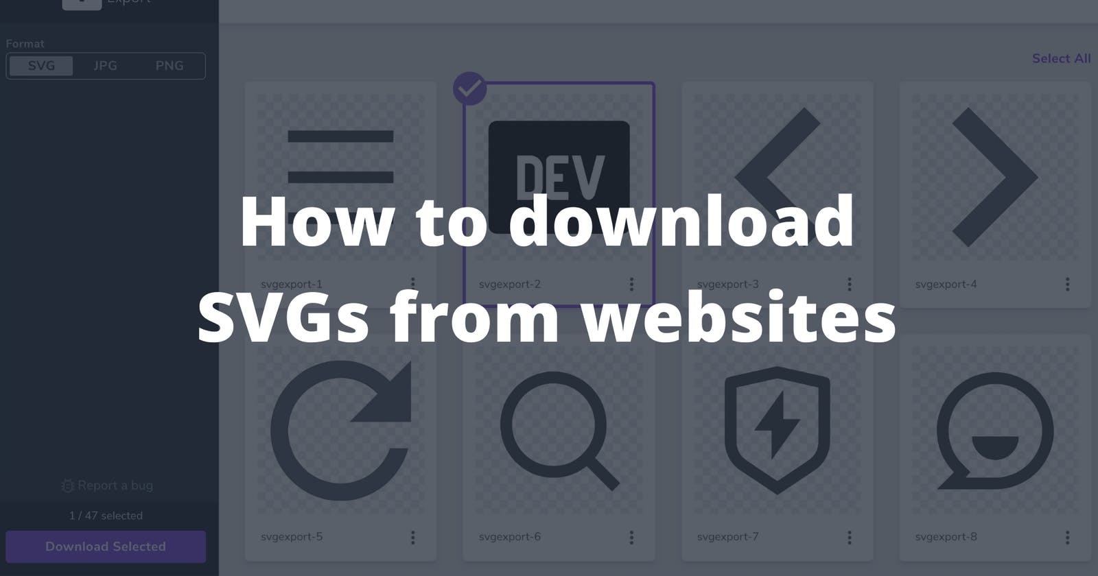 The easiest way to download SVGs from a website