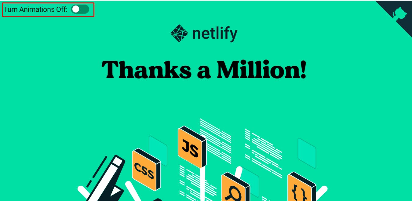A control switch to disable animations on Netlify Reaches One Million Devs!