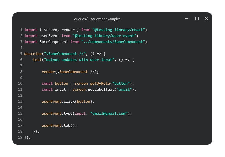 queries and user events examples