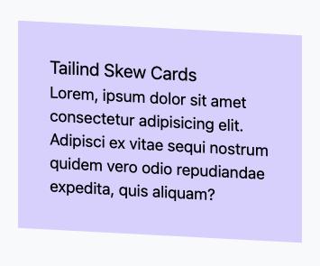 Tailwind skew card