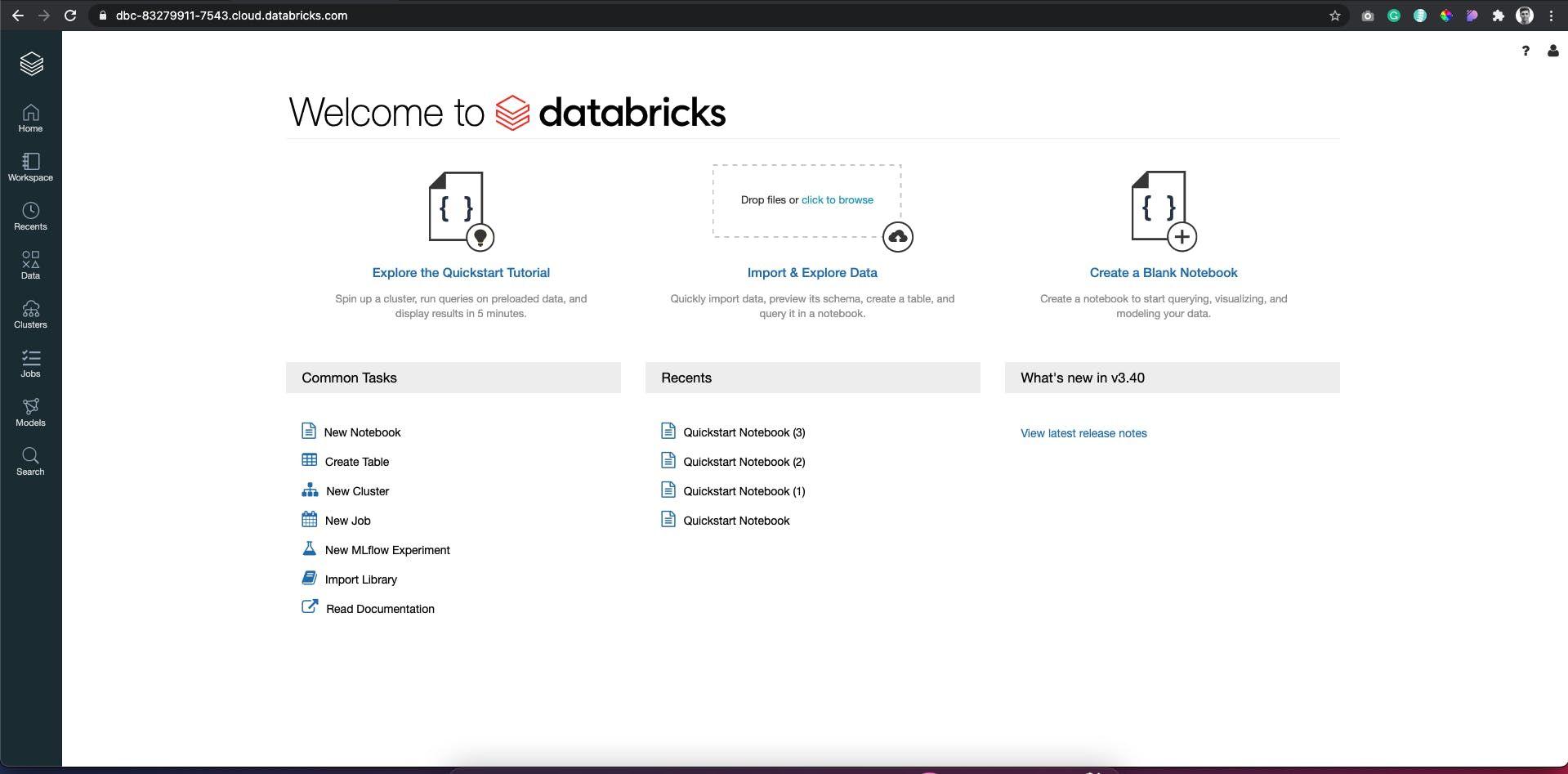 Screenshot of my databricks instance