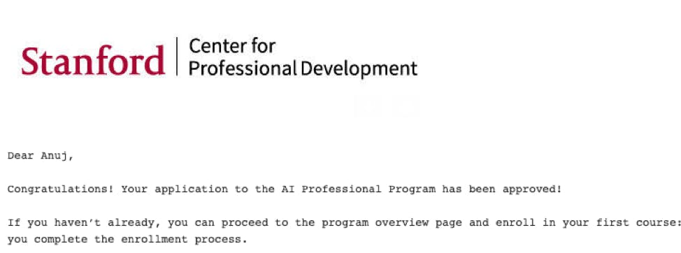 *The selection mail from Stanford for my NLP program application*