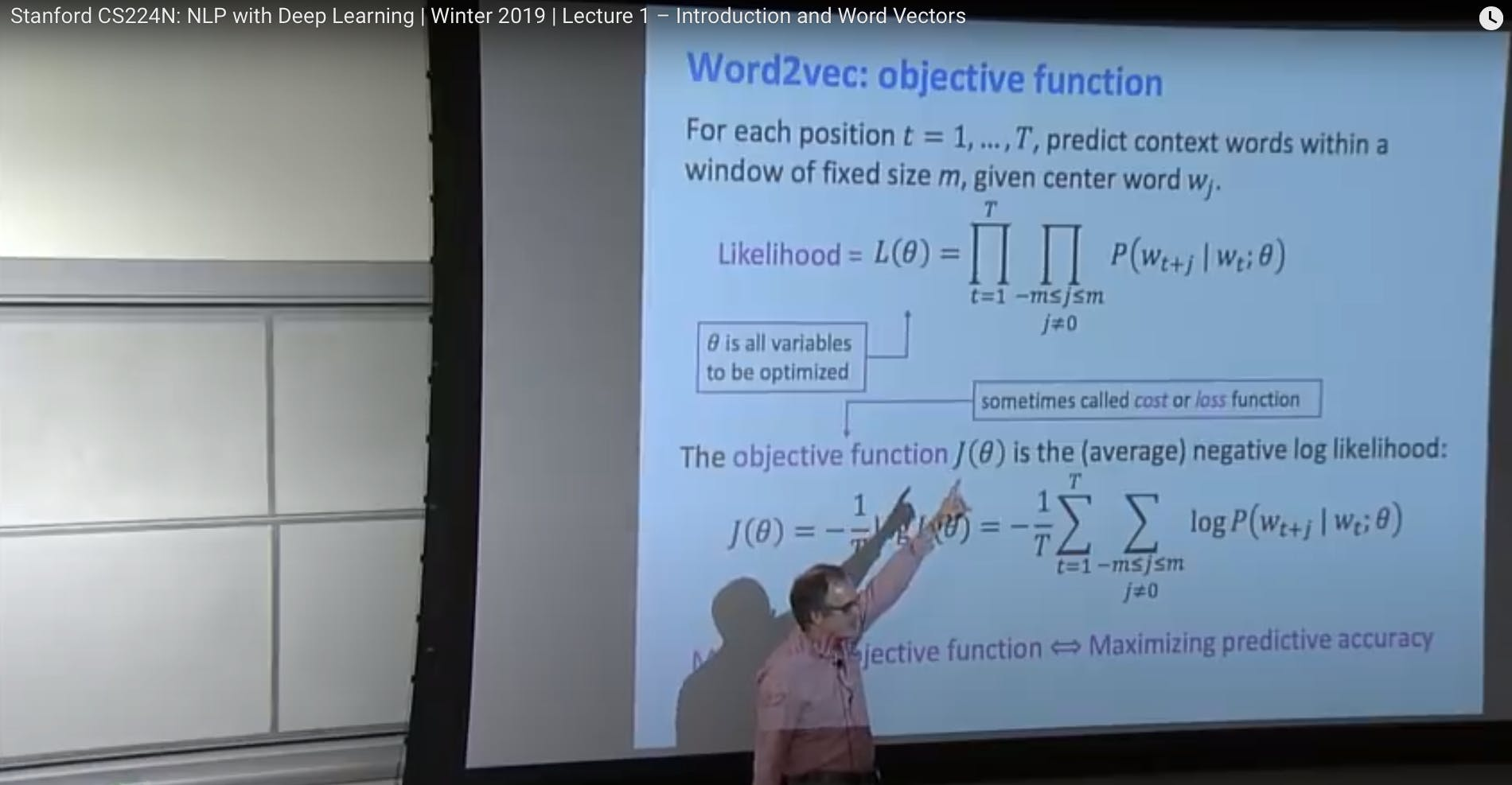 Screenshot of a lecture by Professor Christopher Manning from my course