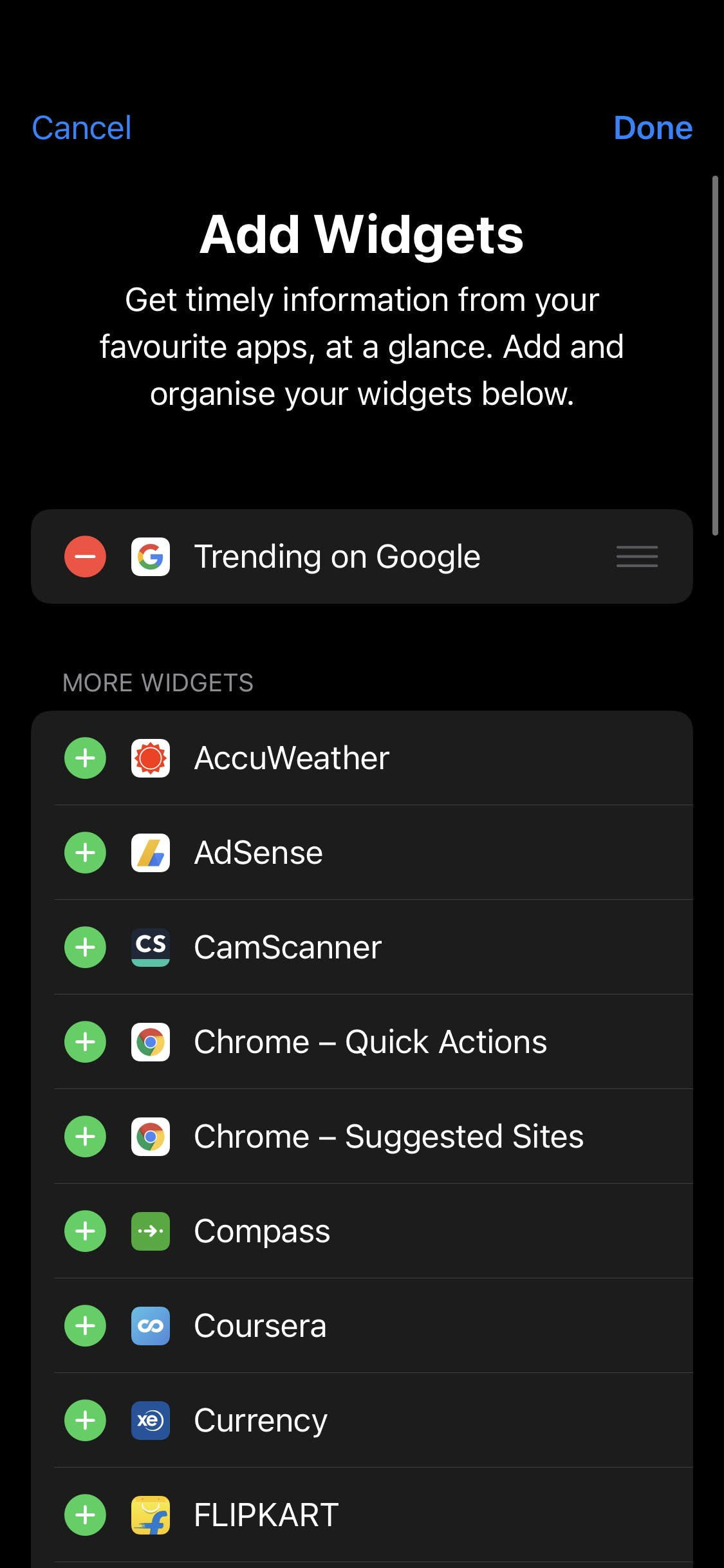 Add widgets — old flow. Provided by author