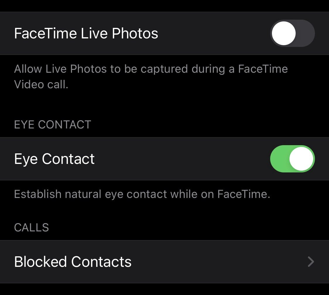 ***Settings **→ **FaceTime **→ **Eye Contact***