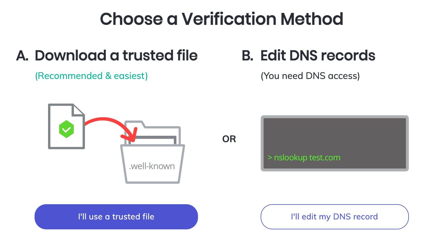 Brave Creator web site verification options