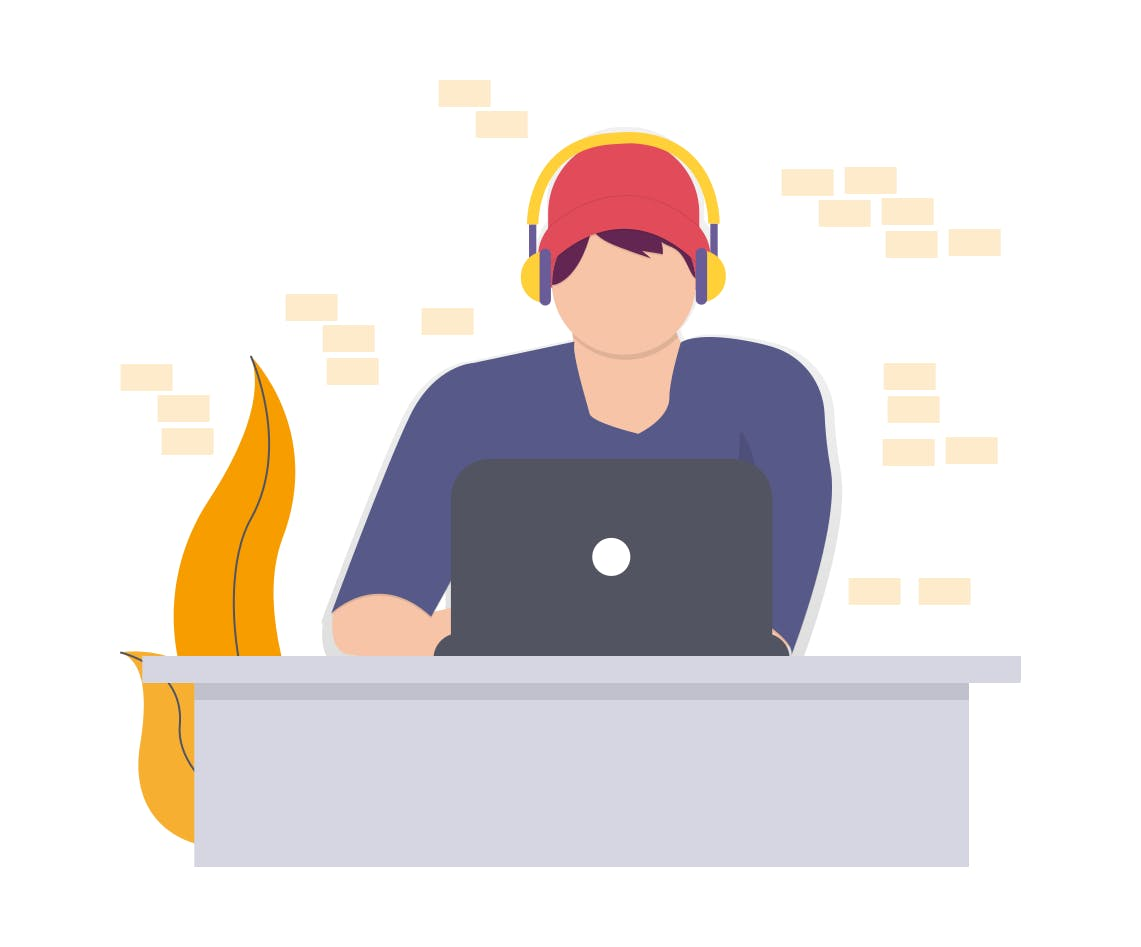 illustration of person working on computer
