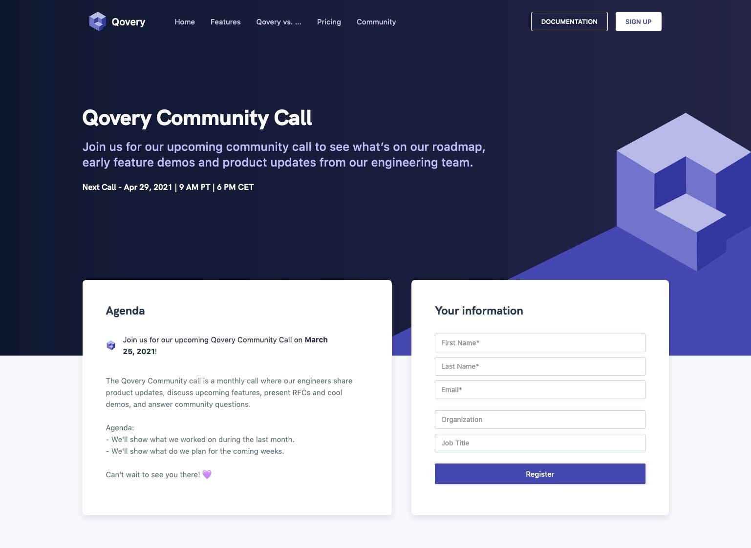 Qovery Community Call page