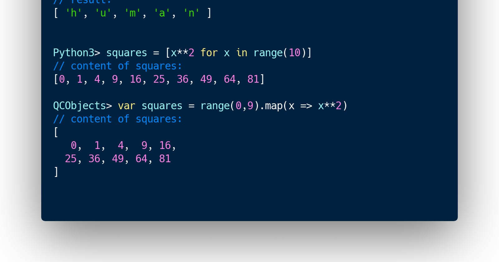 Code Benchmark: QCObjects similarities to Python 3 using JavaScript