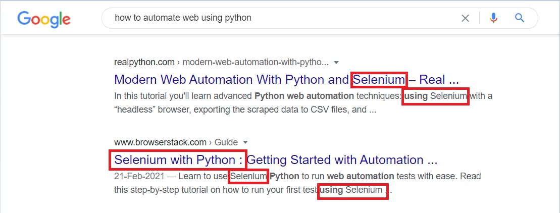 How to automate web using Python? Google Search Results