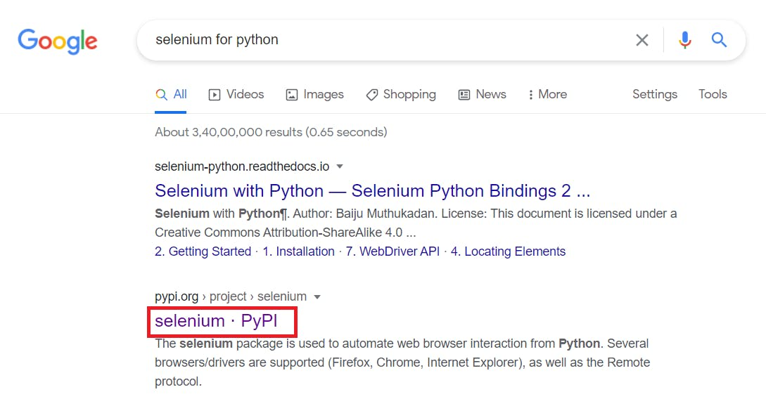 Selenium for Python Google Search Results