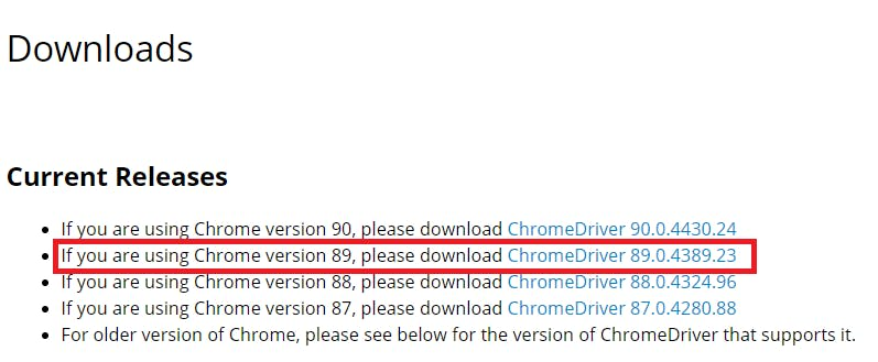 Which version of chrome web driver to install according to Google Chrome Version?