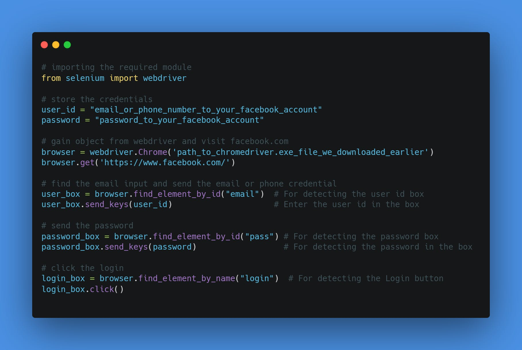 Final Source Code for Automating Facebook Login Using Python