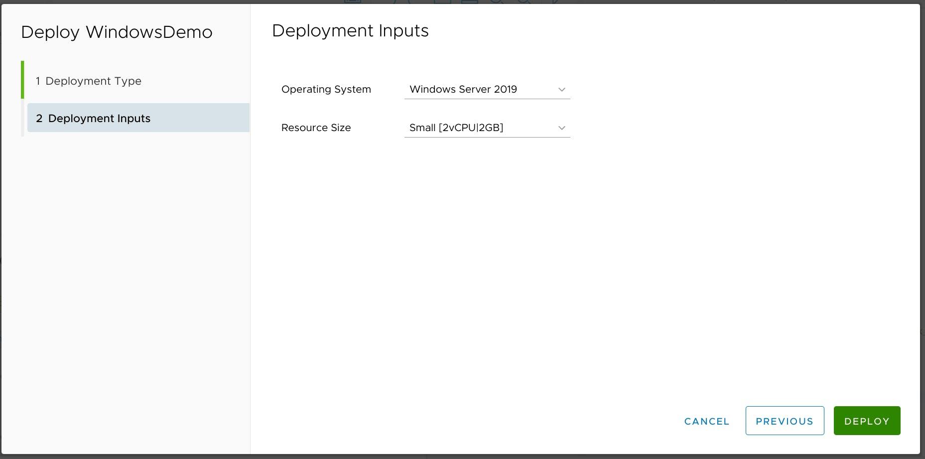 Deployment inputs