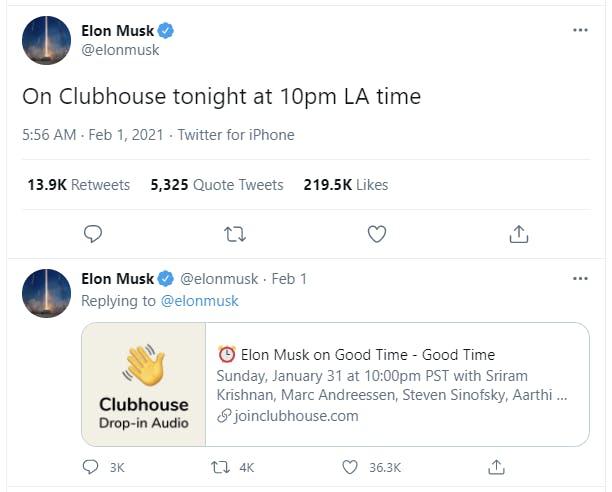 Clubhouse Elon Musk Twitter