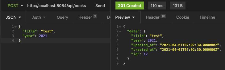 Laravel API create new entity