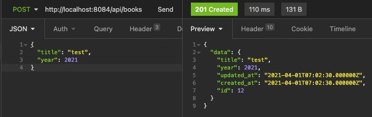 Laravel API create new entity