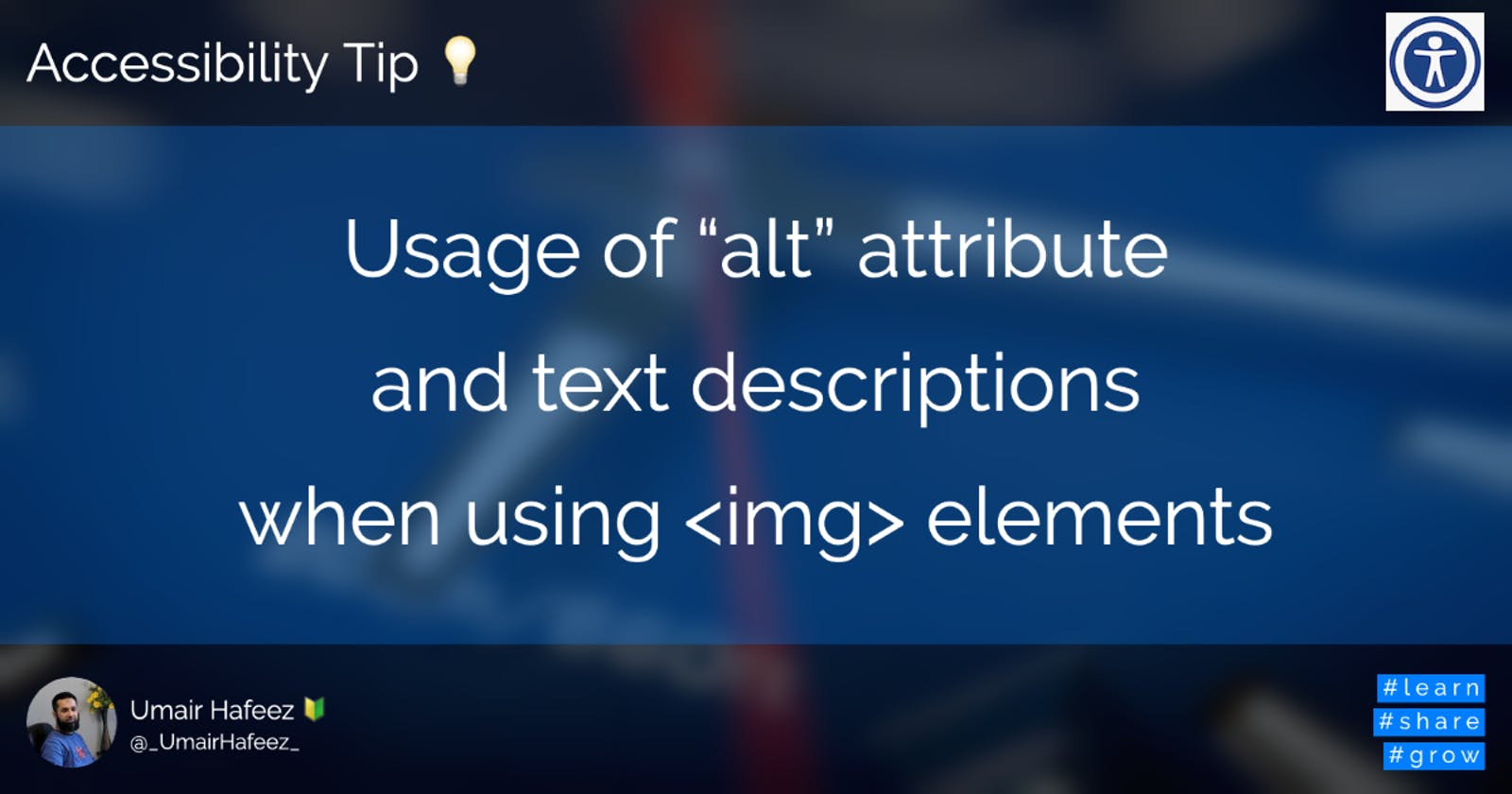 Usage of `alt` attribute and text descriptions when using img elements