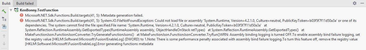 Build error: Metadata generation failed