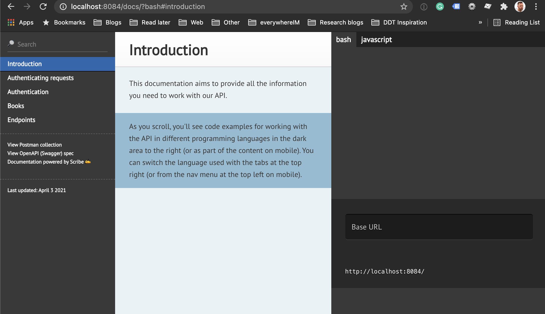 Laravel generated API doc