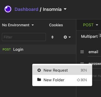 Insomnia add new request