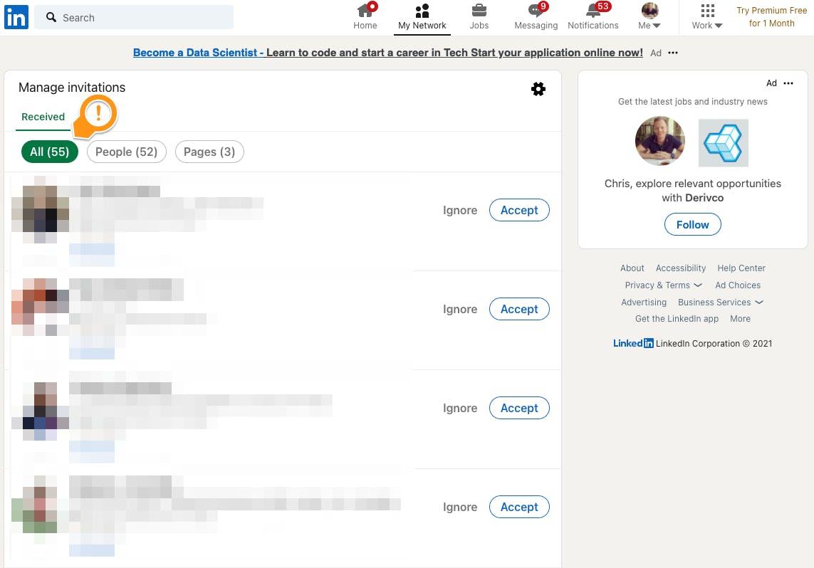 LinkedIn multiple invites