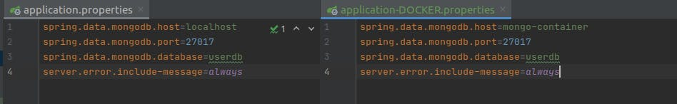 A side-by-side screenshot of application.properties and application-DOCKER.properties: the only change is that the spring.data.mongodb.host is now set to mongo-container instead of localhost