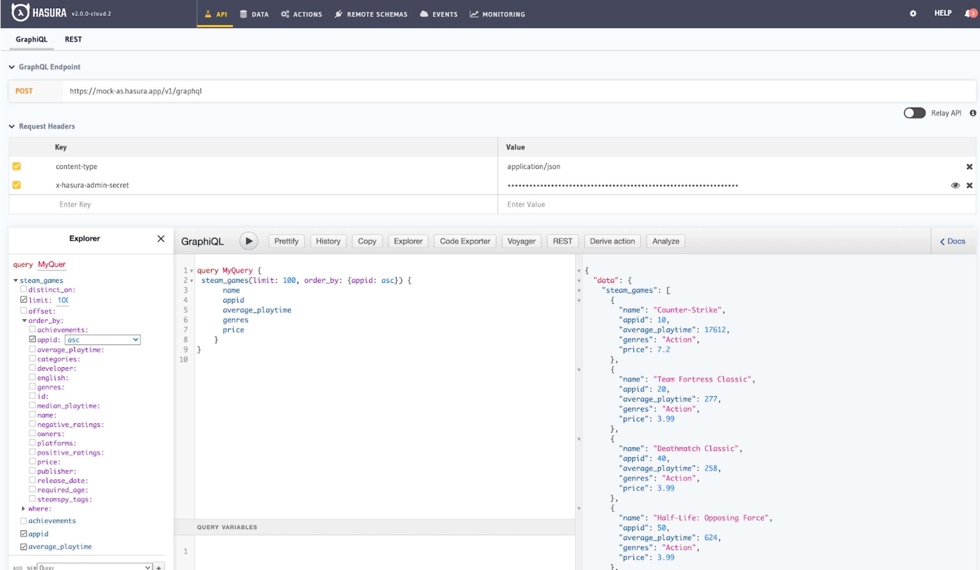 Mock Data hosted on Hasura