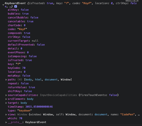 KeyBoardEvent log