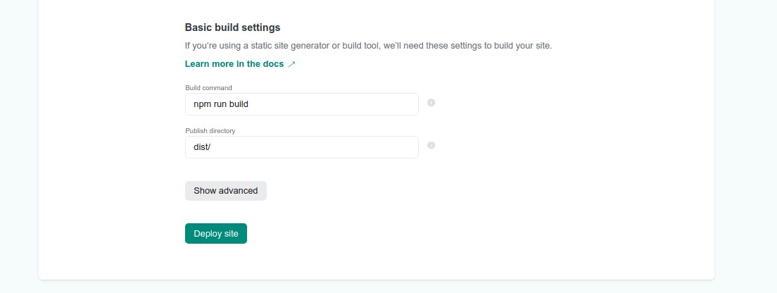 Build settings section