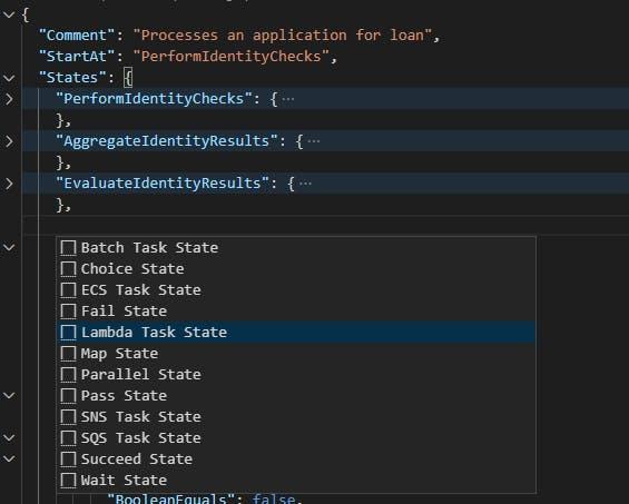 Screenshot of list of code snippets